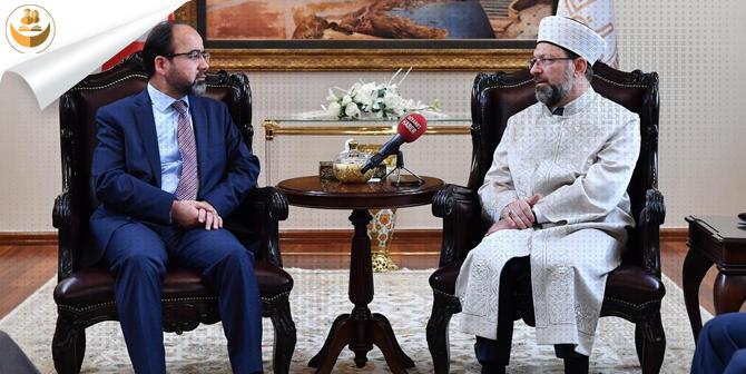 Diyanet İşleri Başkanı Prof. Dr. Ali Erbaş, Afganistan Hac ve Din İşleri Bakanı Osmani'yi Makamında Kabul Etti