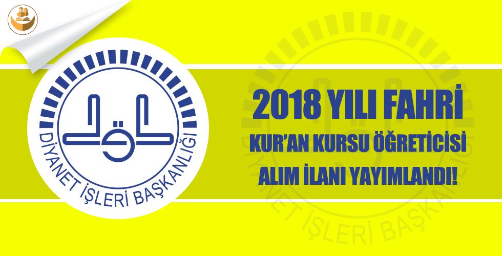 Diyarbakır İl Müftülüğü 2018 Kış Dönemi Fahri Kur'an Kursu Öğreticisi Alımı