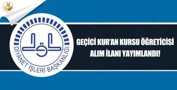 Adana İl Müftülüğü 2018 Kış Dönemi Geçici Kur'an Kursu Öğreticisi Alımı