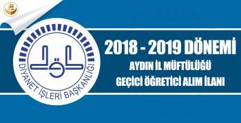 Aydın İl Müftülüğü 2018-2019 Eğitim Yılı Geçici Kur'an Kursu Öğreticisi Alımı