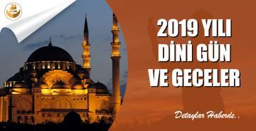 2019 Yılı Dini Gün ve Geceler