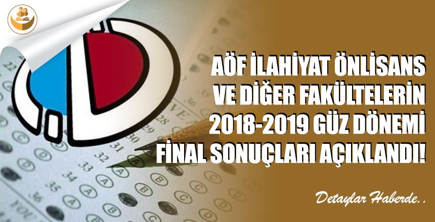 2018-2019 AÖF Güz Dönemi Final Sonuçları Açıklandı!